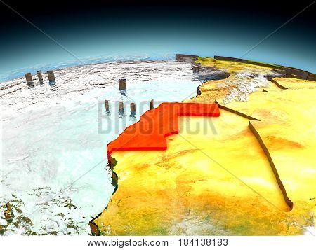 Western Sahara On Model Of Earth