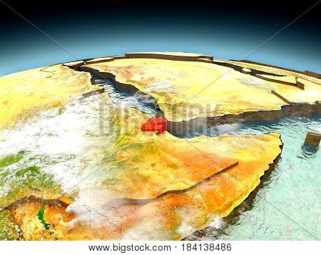 Djibouti On Model Of Earth