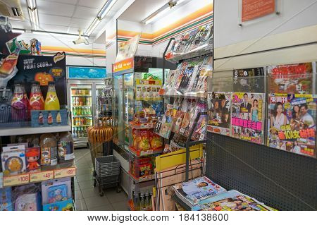 HONG KONG - OCTOBER 25, 2015: a 7-Eleven store in Hong Kong. 7-Eleven is an international chain of convenience stores.