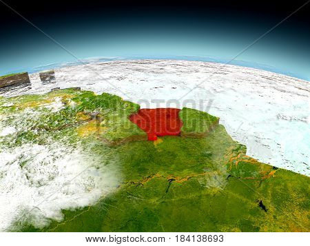 Suriname On Model Of Earth