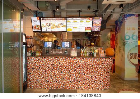 HONG KONG - OCTOBER 25, 2015: the Cali-Mex in Kennedy Town. Kennedy Town is at the western end of Sai Wan on Hong Kong Island