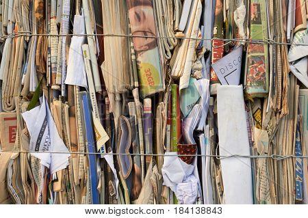 HONG KONG - OCTOBER 25, 2015: close up shot of stacks of paper for recycling in Hong Kong