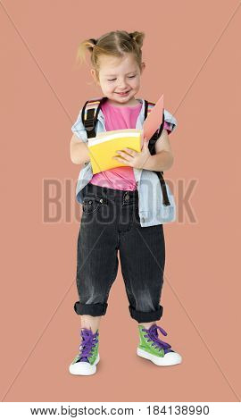 Portrait of a Little Blonde Caucasian Girl Smiling Isolated
