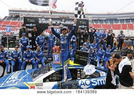 April 24, 2017 - Bristol, Tennessee , USA: Jimmie Johnson (48) celebrates in victory lane after winning the Food City 500 at Bristol Motor Speedway in Bristol, Tennessee .