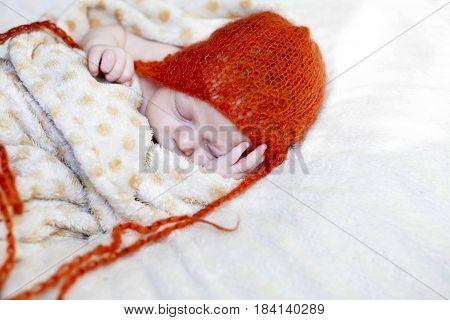 Cute Baby Asleep Cheek On The Palm