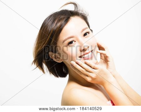 happy young asian Woman with hair motion