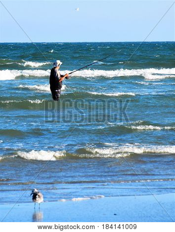 Surf fishing in the North Atlantic Ocean.