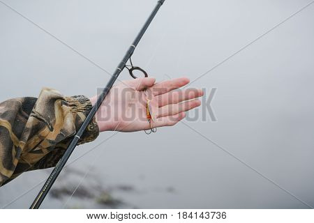 Fishing On A Spinning. Catching Of Predatory Fish. A Pike On A Spinning