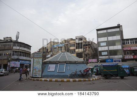 DELHI INDIA - JUN 11 : morning city scene on Hauz Quzi chowk at chawri bazar in old delhi on june 11 2015 india. old delhi is area of old city of Delhi