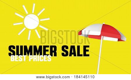 Summer Sale banner with a beach umbrella. Vector design template for promotion
