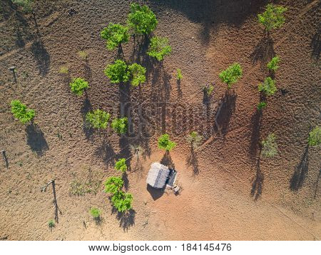 Aerial shot with from a drone. Flying over mountains and denuded forest area, Northen part of Thailand ,Chiang Mai