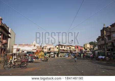 DELHI INDIA - JUN 10 : morning scene of Lahori Gate near spice market in Old Delhi Old Delhi is ancient and famous place of Delhi on june 10 2015 india