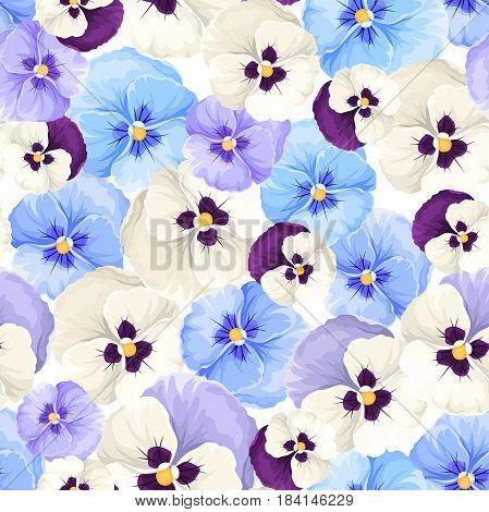 Vector seamless pattern with blue, purple and white pansy flowers.