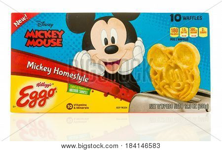 Winneconne WI - 22 April 2017: Box of Eggo waffles in Mikey homestyle flavor featuring Mickey Mouse on an isolated background.