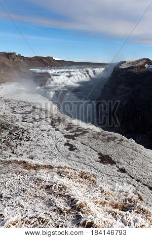 Gullfoss Waterfall In Southwest Iceland..