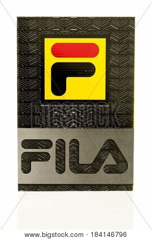 Winneconne WI - 25 April 2017: A Fila box that contains Fila gear on an isolated background.