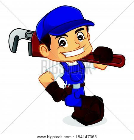 Handyman Leaning On Empty Space Carrying Adjustable Wrench