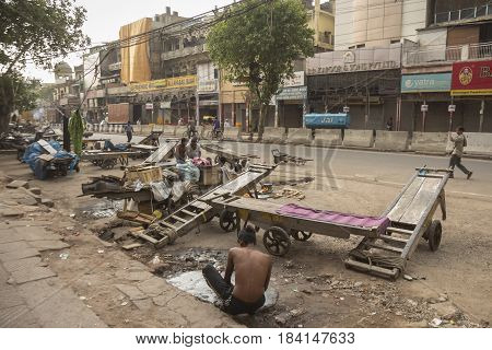 DELHI INDIA - JUN 21 : morning life of worker in Chandni Chowk in Old Delhi Old Delhi is aged and famous place of Delhi on june 21 2014 india