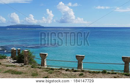 Latte stones, Taga Beach, Tinian Latte-shaped cement borders along Taga Beach