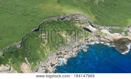 Aerial view of Marpi, Saipan coastal   Marpi, the northern part of Saipan viewed from an airplane boasts of amazing cliffs and blue waters.