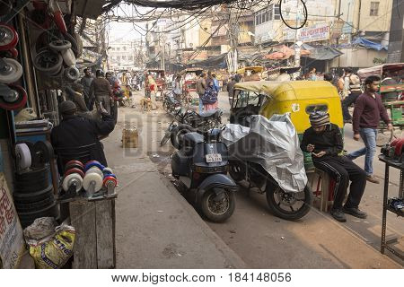 DELHI INDIA - DEC 18 : unidentified india people and hardware shop in chawri bazar. this old market is large hardware market of delhi on december 18 2014 india