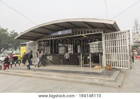 DELHI INDIA - DEC 19 : delhi metro entrance gate at INA market. delhi metro is massive public transportation of delhi on december 19 2015 india
