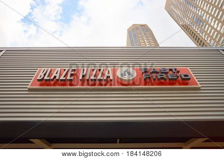CHICAGO, IL - CIRCA MARCH, 2016: Blaze Pizza sign. Blaze Pizza LLC is a Pasadena, California-based chain within the fast-casual dining restaurants category.