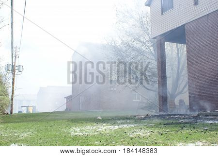SMITHS FALLS ON CANADA APRIL 28 2017 - One of several editorial images recorded at the scene of an apartment building fire in this small town.