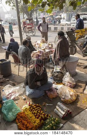 DELHI INDIA - DEC 20 : sell stall on street in chandni chowk in old delhi. old delhi is famous place of Delhi on december 20 2014 india
