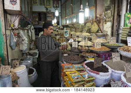 DELHI INDIA - DEC 20 : herb and spice shop in spice market chandni chowk. this market is famous and large spice market in delhi on december 20 2014 india