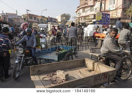 DELHI INDIA - DEC 20 : traffic jam and stuck in spice market chandni chowk. this area is in old delhi that is famous place of delhi on december 20 2014 india