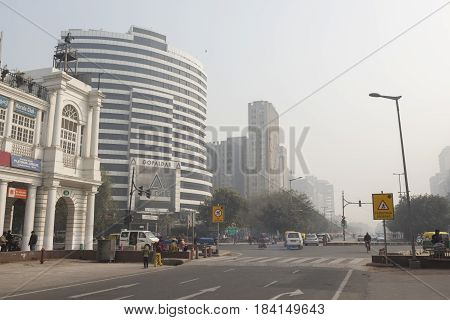 DELHI INDIA-DEC 25 : connaught place circle block F. this place is large shopping place in central delhi on december 25 2014 india