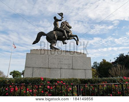 Jackson monument, New Orleans The sculpture of Andrew Jackson right in the center of the Jackson Square is a public landmark that every visitor to New Orleans must visit