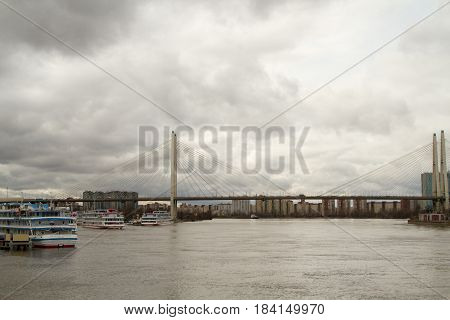 St. Petersburg. Cable-stayed bridge across the Neva River