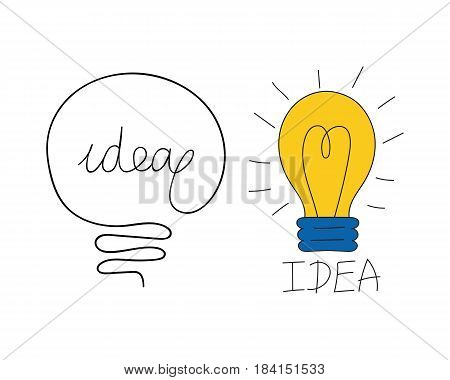 Cartoon lamp electric and bright cartoon interior flat vector brainstorming. Idea light bulb electricity design illustration isolated creative invention imagination business creativity. poster