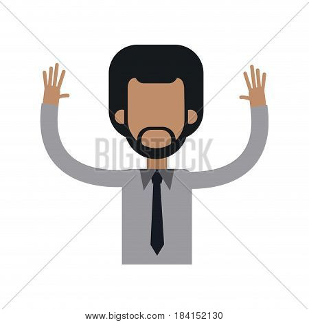 character african man male tie hands up vector illustration