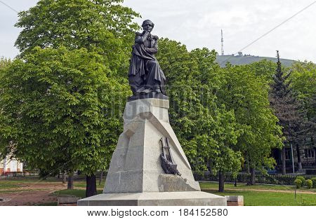 PYATIGORSK, RUSSIA - APRIL 30 2017:The best in the Russian monument poet Mikhail Yurievich Lermontov in Pyatigorsk, Northern Caucasus,Russia (sculptor Opekushin 1889)