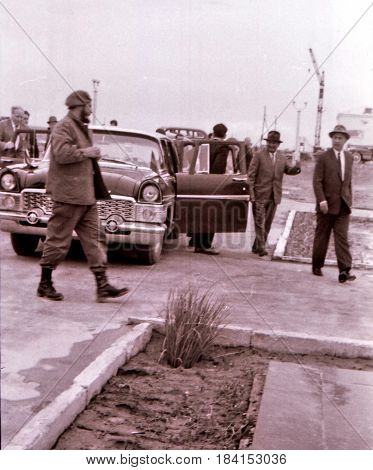 Castro and Rashidov arrived in Yangiyer Uzbekistan May 11 1963
