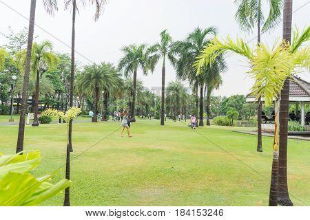 BANGKOK, THAILAND - APRIL 29, 2017 : Chatuchak Park after rain , A large public park  in Bangkok Thailand.