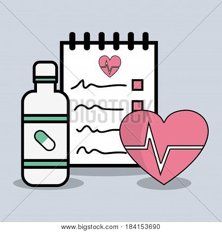 flat line concept medical prescription, vector illustration