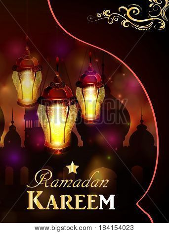 Vector illustration Silhouette of mosque and magic glass lights on dark background in paper window with arabic swirls