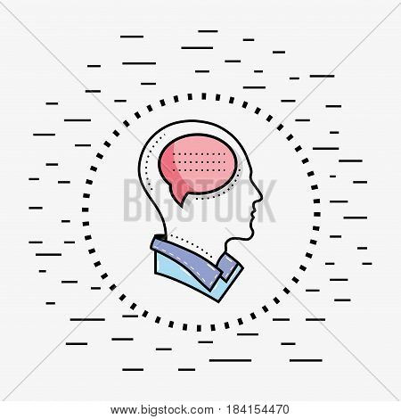 line silhouette head thinking in dialogue, vector illustration