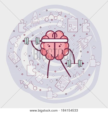 icon adorable kawaii brain doing exercise, vector illustration