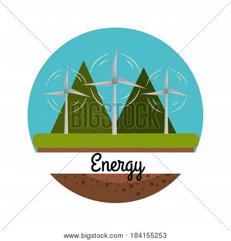 windpower with nice mountain to care environment, vector illustration