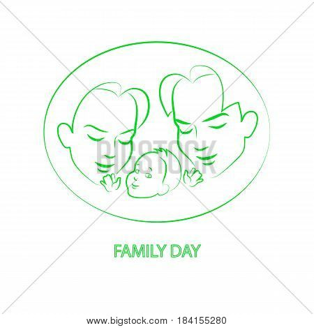 Vector illustration sketch mom and dad holding a small child. Logo happy family isolated on white background. Parents with baby infant. Mother, father and their little kid.