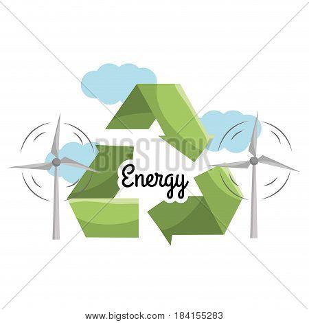 windpower with reduce, reuse and recycle symbol, vector illustration