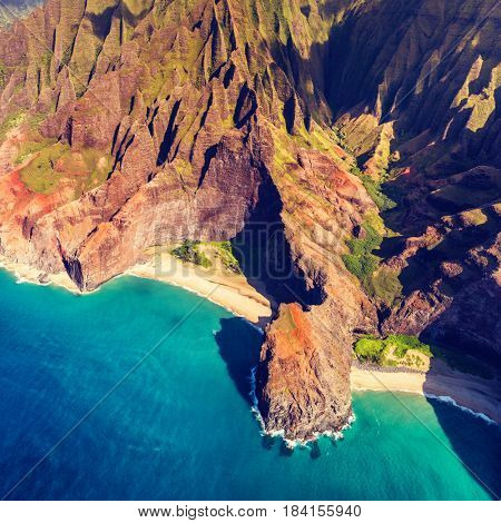 Hawaii Na Pali coast in Kaui, Hawaii. Aerial view of Honopu arch and beach on Kauai island.