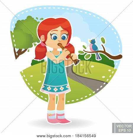 Cartoon Cute Little Child Kid Enjoying Summer Outdoor In Park Play Flute With Singing Bird