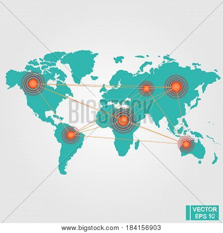 World Map With Circles Marks
