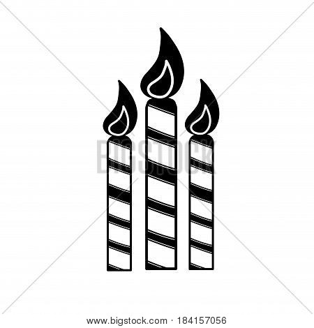contour candles party to cebrate happy birthday, vector illustration